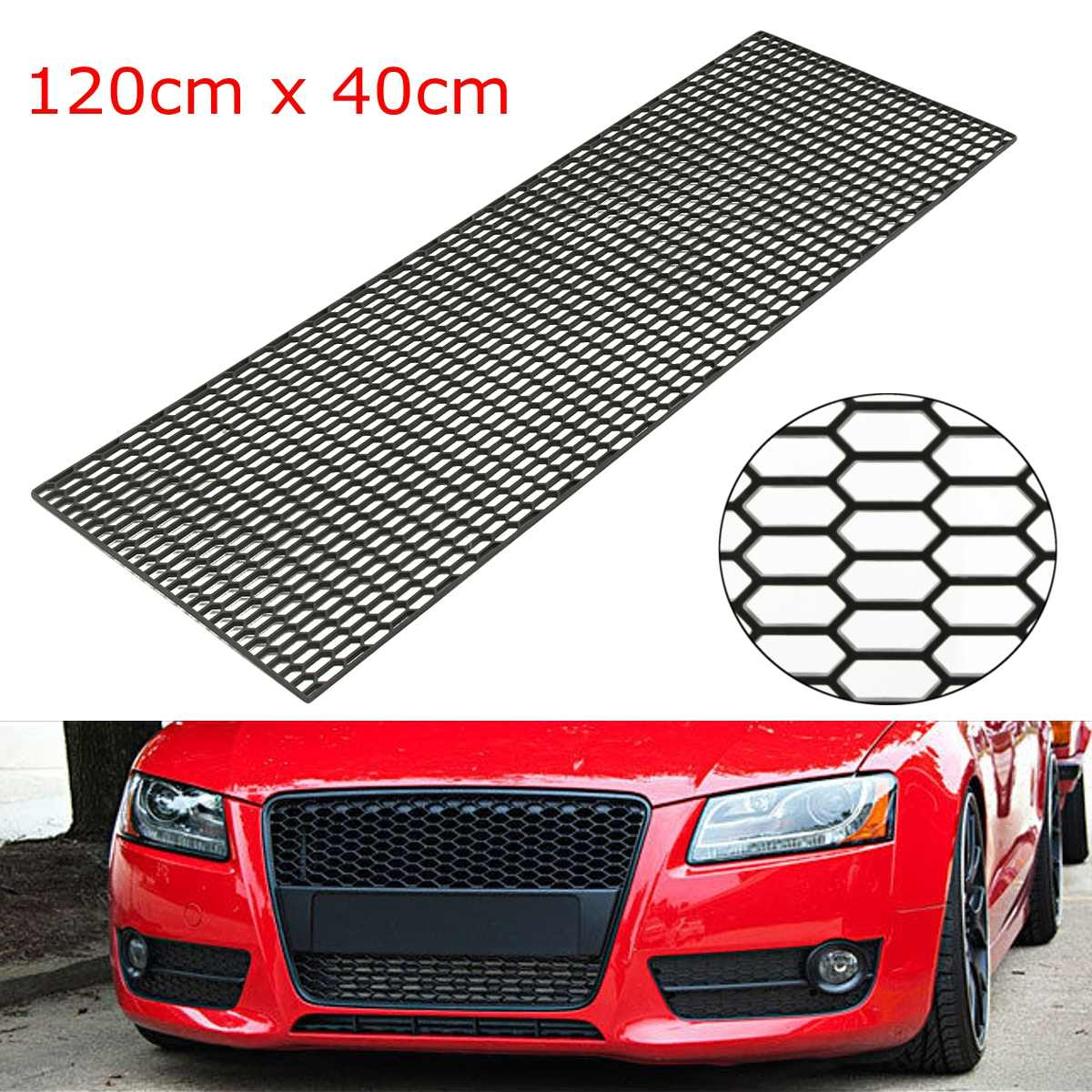 120X40cm Universal Car Styling Air Intake Racing Honeycomb Meshed Grille Spoiler Bumper Hood Vent Racing Grills