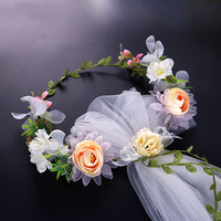 Bridal Wreath Veil New Flower Hair Accessories Short Wedding Veils Boho Garland Wedding Veil White Wedding Veils For Flower Girl