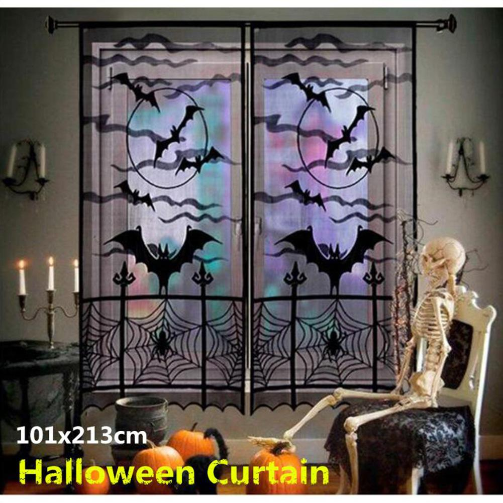 2Pcs Black Lace Spider Web Bat Pattern Window Door Curtain For Halloween Spirit Festival Decor 40x84 Inches 101x213cm