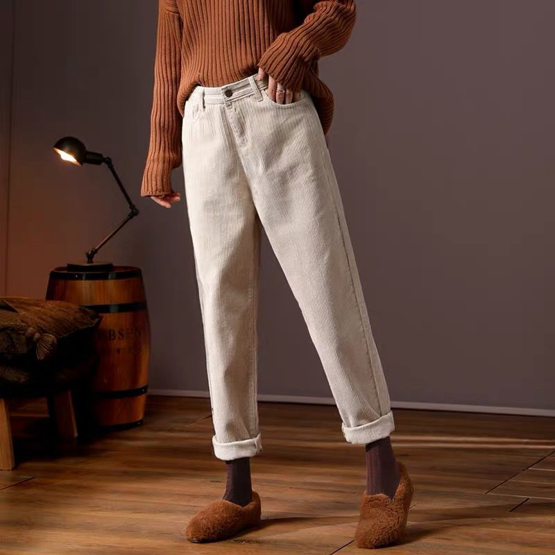 Autumn Winter New Korea Fashion Women Harem Pants High Waist Loose Corduroy Pants Plus Size All-matched Casual Trousers D470