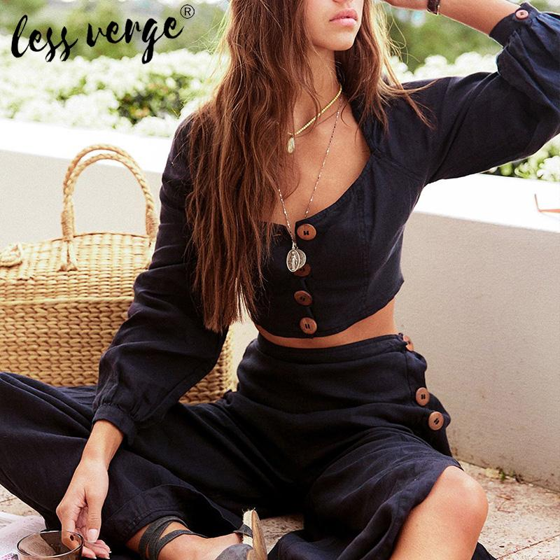 Casual 2 piece set summer Solid square collar button sexy crop top and wide leg split pants set Women two piece outfits