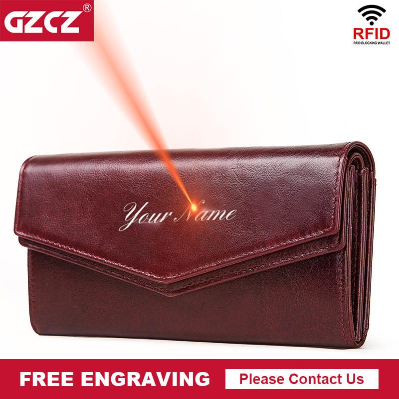 GZCZ Rfid Fashion Women Clutch Leather Wallets Long Style Multi-Functional Coin Purse Portomonee Clamp For Phone Handy Passport