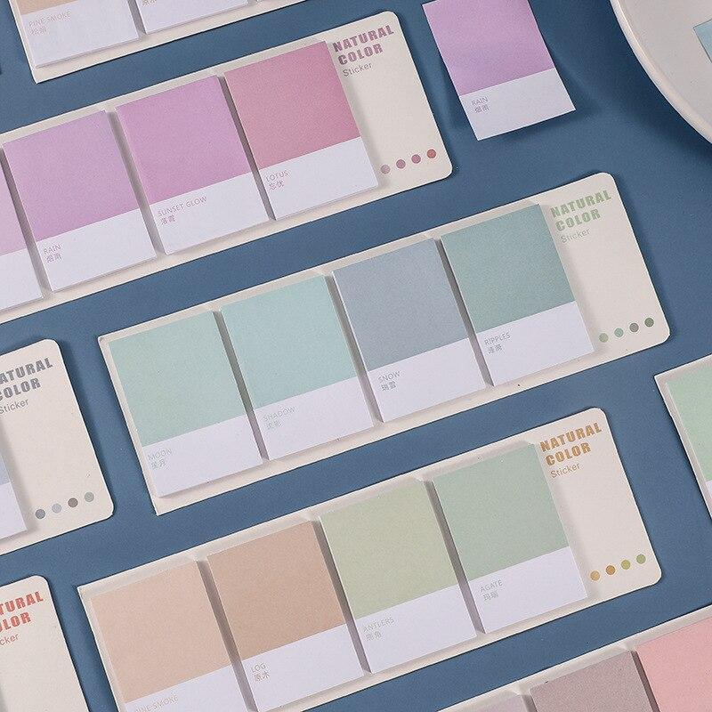 80 folhas/conjunto breve natureza série de cores notas pegajosas planejador adesivo para fazer lista bloco de notas material de decoração de escritório da escola