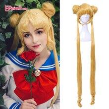 L email peruk Sailor Moon Cosplay peruk süper uzun sarışın peruk çörekler isıya dayanıklı sentetik saç Cosplay peruk cadılar bayramı