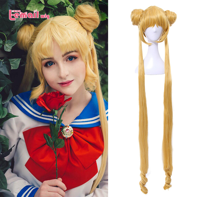 L email wig Sailor Moon Cosplay Wigs Super Long Blonde Wigs with Buns Heat Resistant Synthetic Hair Cosplay Wig Halloween