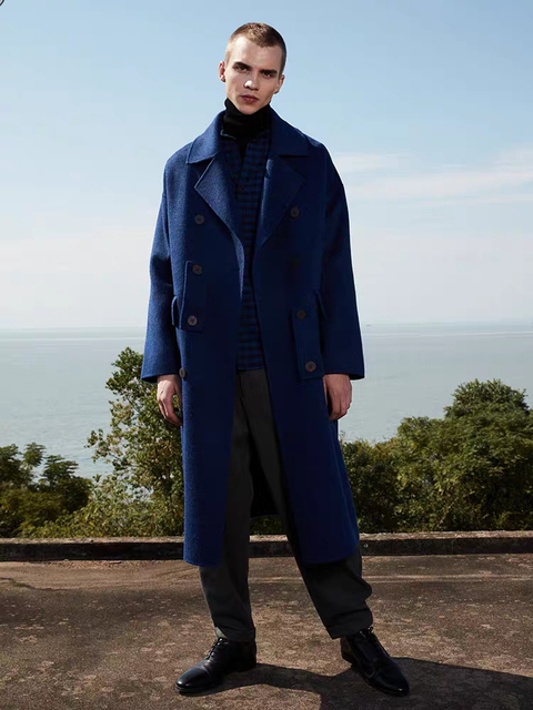 Solid Blue England Style Custom Woolen Overcoat Men's Loose Double Breasted Warm Mid-Length Trench Coat Male Thick Jacket Double Breasted Coat Men Men Casual Jackets Men Wool Coat Outwear & Jackets cb5feb1b7314637725a2e7: Blue