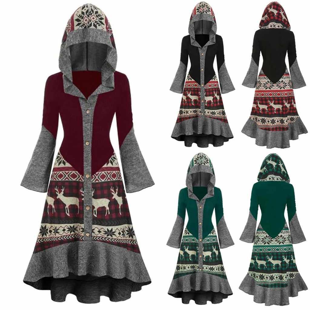Mujer חג המולד שמלת נשים בתוספת גודל חג המולד איילים ברדס גבוהה נמוך להתנפנף Hem סרוג שמלת שמלות צד אישה #40