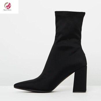 Original Absicht Stretch Stoff Frauen Stiefel Damen Schuhe Knöchel Slip-on Spitz Super Hohe Quadratische heels Reife Größe 4-16