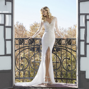 Image 5 - Sexy High Slits Mermaid Wedding Dresses V neck Long Sleeve Lace Appliqued Bridal Gowns Dubai Boho Wedding Gown vestido de noiva