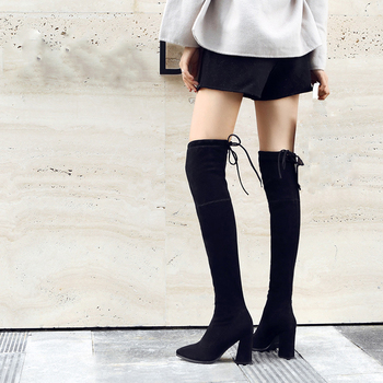 2020 Autumn Winter Sexy Elastic Flock Slim Fit Over The Knee Boots Women shoes lace thigh Chunky High heel Thigh High botas spring autumn women over the knee boots thick high heel woman thigh high long boots high quality plus size 34 40 41 42 43 botas