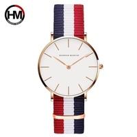 Relogio Feminino Hannah Martin Luxury Brand Women Watch Japan Movement Rose Gold Waterproof Nylon Ladies Quartz Watch Clock Saat