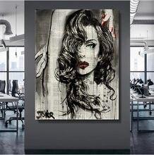 Leinwand Wand Kunst Gedruckt Zeitung Poster 1 Panel Frau Gemälde Hause Dekoration Moderne Wohnzimmer Rahmen Modulare Bilder