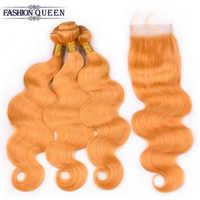 Paquetes de pelo de onda del cuerpo malayo con cierre de encaje 4*4 #144 3 paquetes de extensiones de cabello humano Remy con extensiones de cabello de cierre