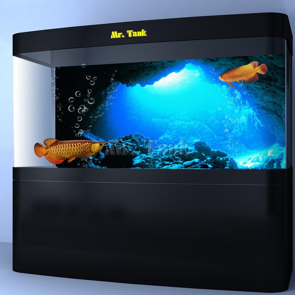 Mr.Tank 3D Effect Underwater Sunlight Rays Cave Aquarium Background Sticker Selfadhesive Fish Tank Backdrop Decorations