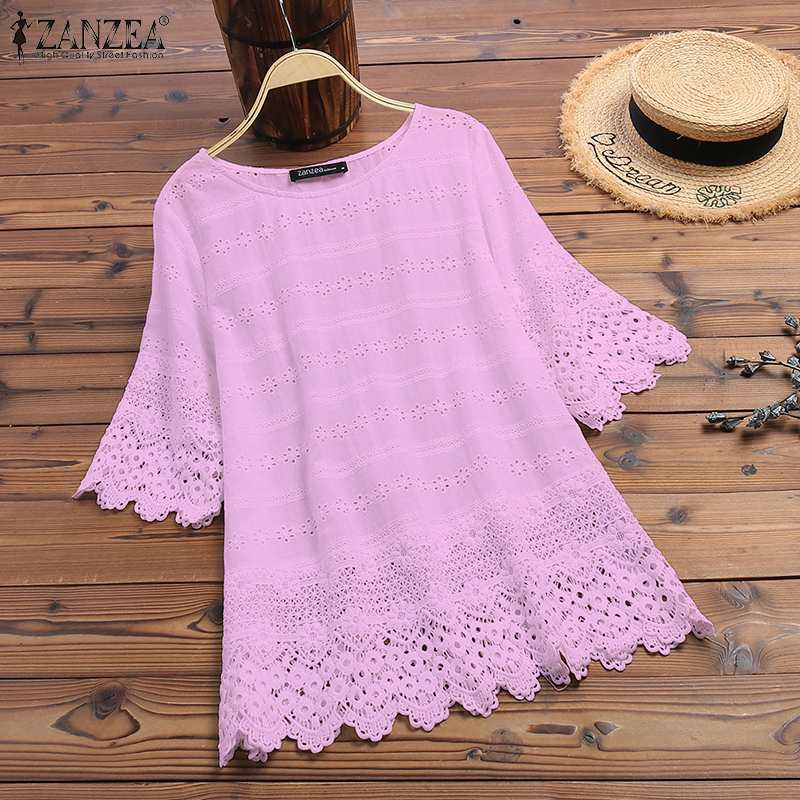 ZANZEA 2019 Summer Women Cotton White Blouse Sweet Girl Hollow Out Embroidery Lace Half Sleeve Shirt Work Tunic Blusas Tops 5XL