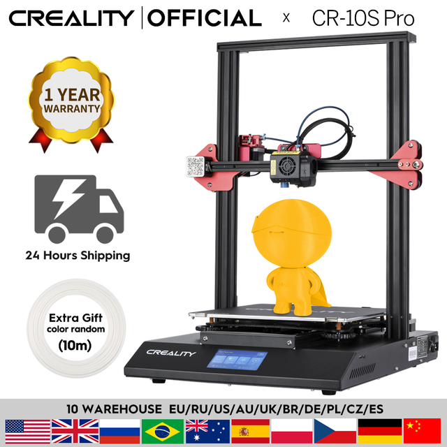 CREALITY 3D CR 10S Pro 자동 레벨링 센서 프린터 4.3 인치 터치 LCD 이력서 인쇄 필라멘트 감지 기능 MeanWell Power