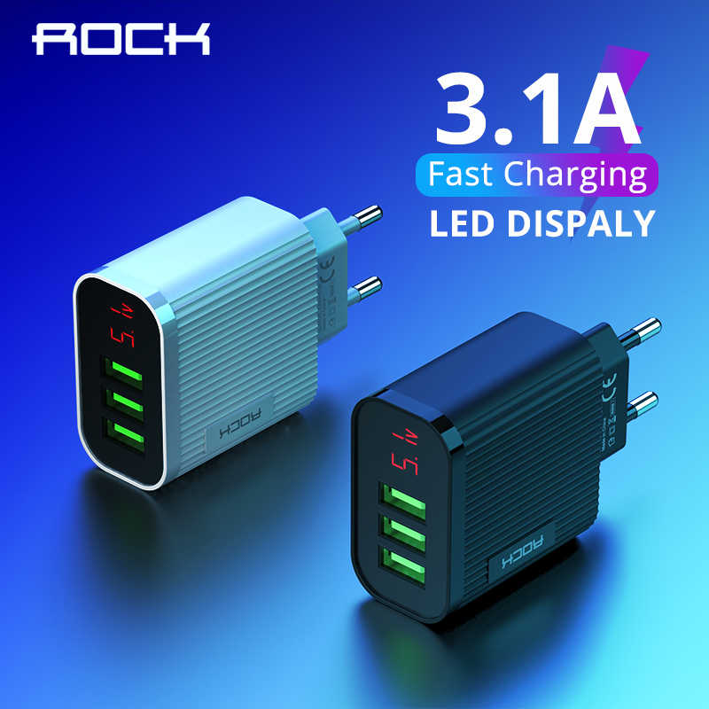 Rock Digital Display USB Charger 3 Port USB 3A Smart Fast Charger Ponsel Perjalanan Dinding Charger Adapter untuk iPhone 11 samsung Xiaomi