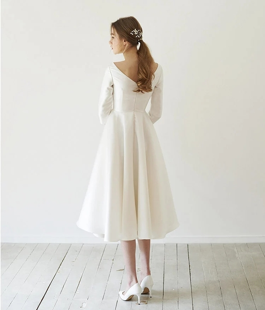 New Simple Wedding Dresses Satin Tea length With Sleeve abendkleider matrimonio vestidosde novia robe-de-mariee Direct China 3