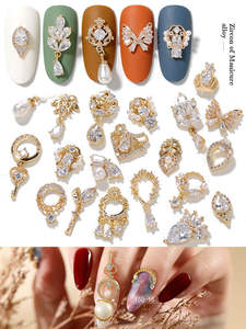 Newest 2Pieces Lot Pendant Chain 3D Alloy Butterfly Nail Art Zircon Pearl Metal Manicure Nails DIY Accessories Nail Decoration