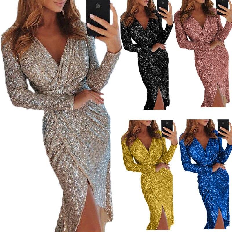 Sexy Golid Silver Glitter Dresses For Women Deep V Neck Sequin Midi Bodycon Dress Autumn Winter Long Sleeve Dinner Party Dress