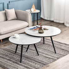 цена на Luxury marble coffee table home living room small large table simple modern side table gold black legs 2pcs round table