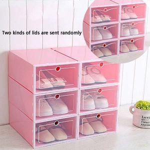 Image 2 - 6 pièces boîte à chaussures en plastique empilable pliable organisateur de chaussures tiroir mallette de rangement avec retournement porte claire dames hommes 33.5x23.5x13cm