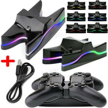 цена на For PS4 Wireless Controller Charger Stand LED Dual Gamepad Fast Charging Dock Station for PS 4 PlayStation Dualshock 4 Controlle