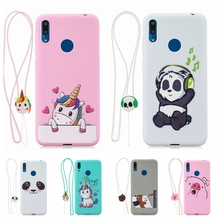 Fundas Huawei Y5 Y6 Y7 2019 Phone Case Kawaii 3D Lanyard Unicorn Silicon Cover on for etui Prime Women