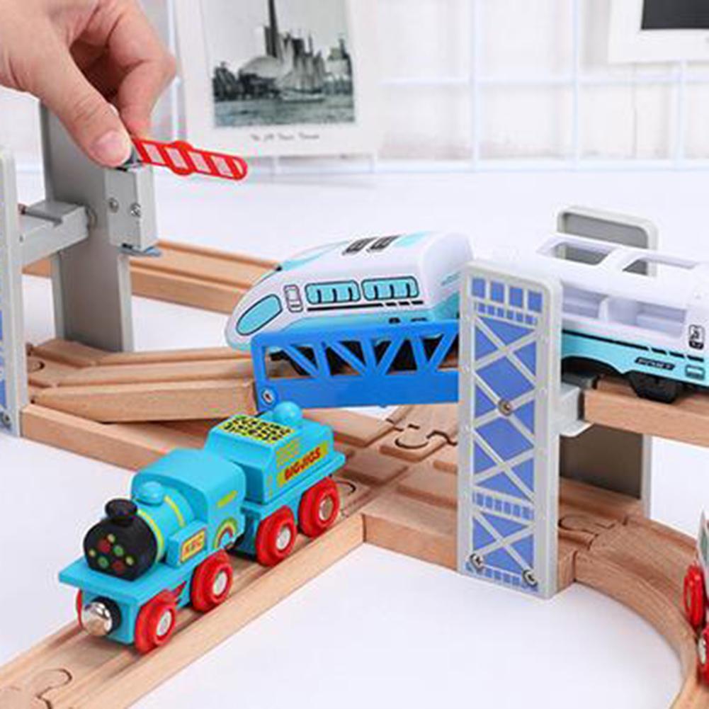 Wooden Double Deck Bridge Overpass Toy DIY Train Tracks Railway Scene Accessory