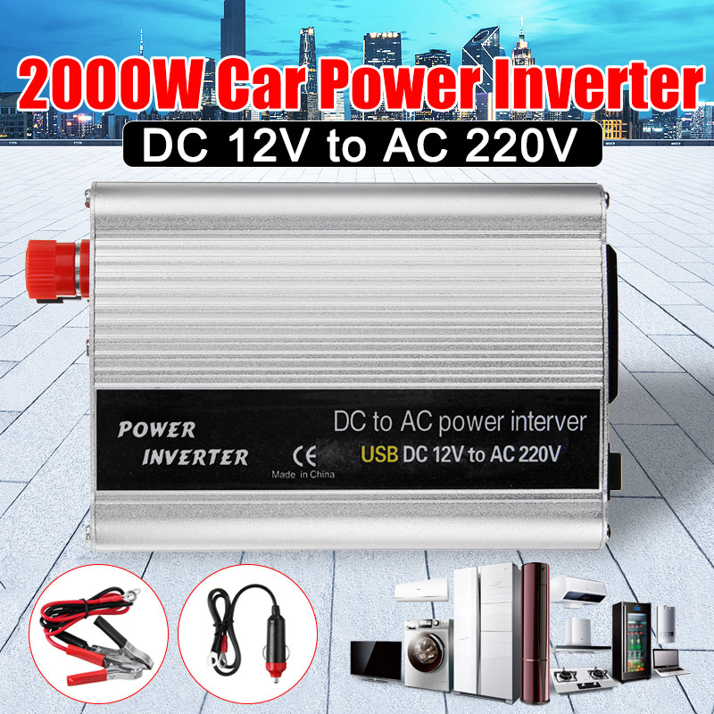 <font><b>2000W</b></font> DC 12V to AC 220V USB Car Power Inverter Charger Converter Adapter DC <font><b>12</b></font> to AC <font><b>220</b></font> Modified Sine Wave Transformer image