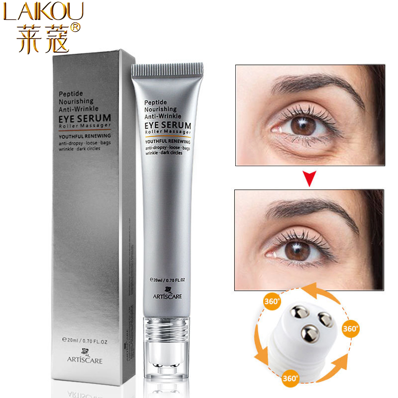 LAIKOU Peptide Anti Wrinkles Eye Serum Roller Massager Eye Patches Skin Care Anti Puffiness Fine Lines Dark Circles Eye Cream