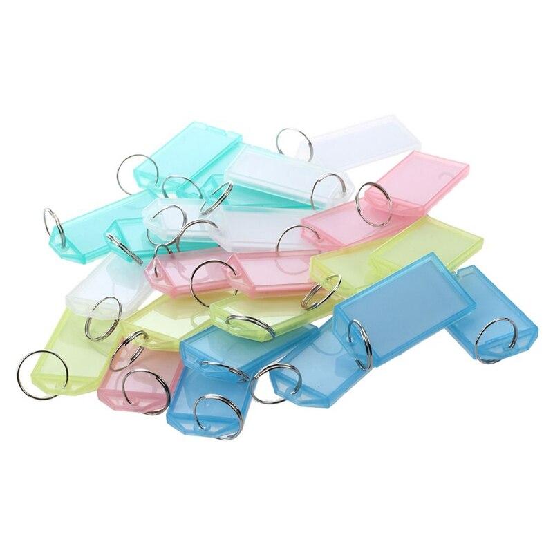 25 Pcs Multicolor Plastic Key ID Label Tags W Split Ring Keyring