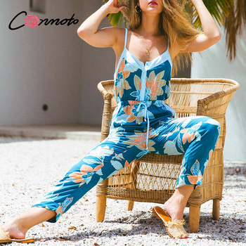 Conmoto summer 2020 casual beach boho jumpsuit romper women spaghetti strap backless jumpsuit rompers plus size floral jumpsuits