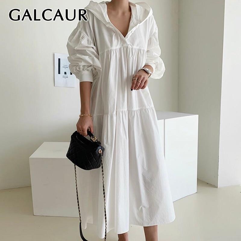 GALCAUR Vintage Dress For Women Hooded Collar Lantern Long Sleeve Patchwork Loose Korean Dresses Female 2020 Fall New Clothing