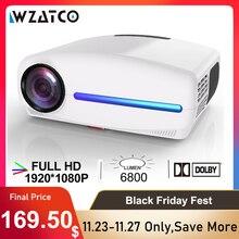WZATCO C2 1920*1080P 풀 HD LED 프로젝터 4D 디지털 키스톤 6800 루멘 홈 시어터 휴대용 HDMI 비머 LED Proyector