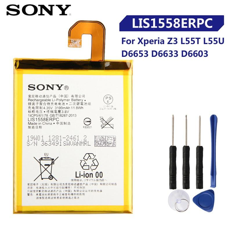 Original Replacement Sony Battery For SONY Xperia Z3 L55T L55U D6653 D6633 D6603 LIS1558ERPC Genuine Phone Battery 3100mAh