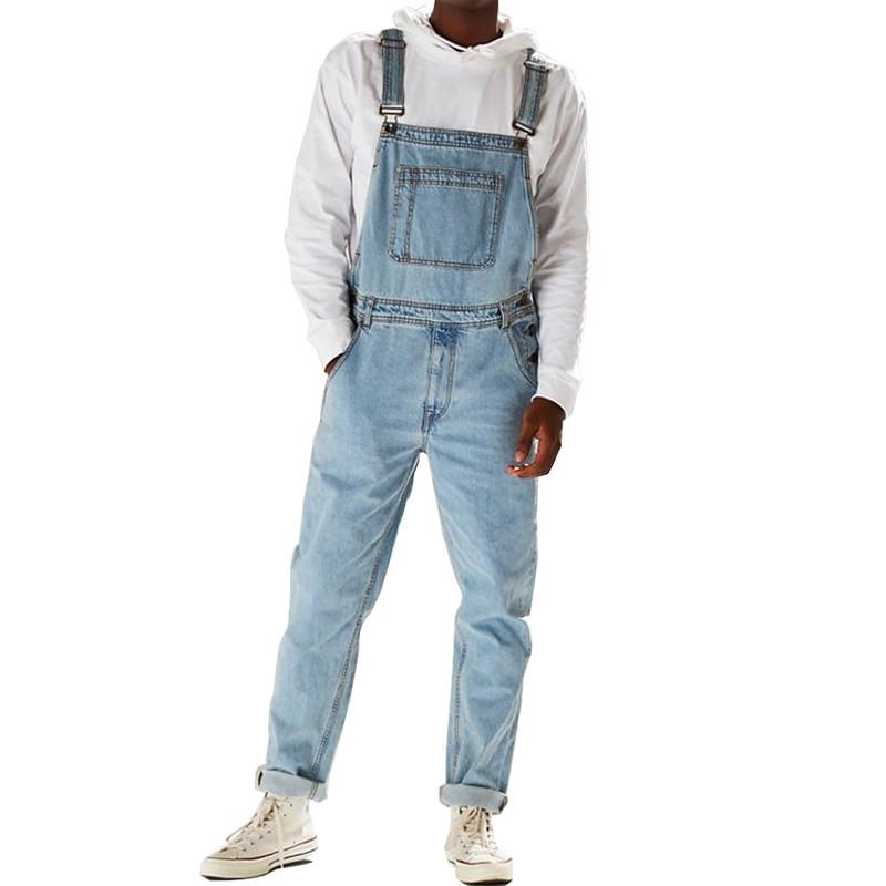 MORUANCLE Fashion Men's Hi Street Denim Bib Overalls Streetwear   Jeans   Jumpsuits For Man Washed Suspender Pants Size Washed Blue