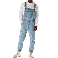 MORUANCLE Fashion Men's Hi Street Denim Bib Overalls Streetwear Jeans Jumpsuits For Man Washed Suspender Pants Size Washed Blue