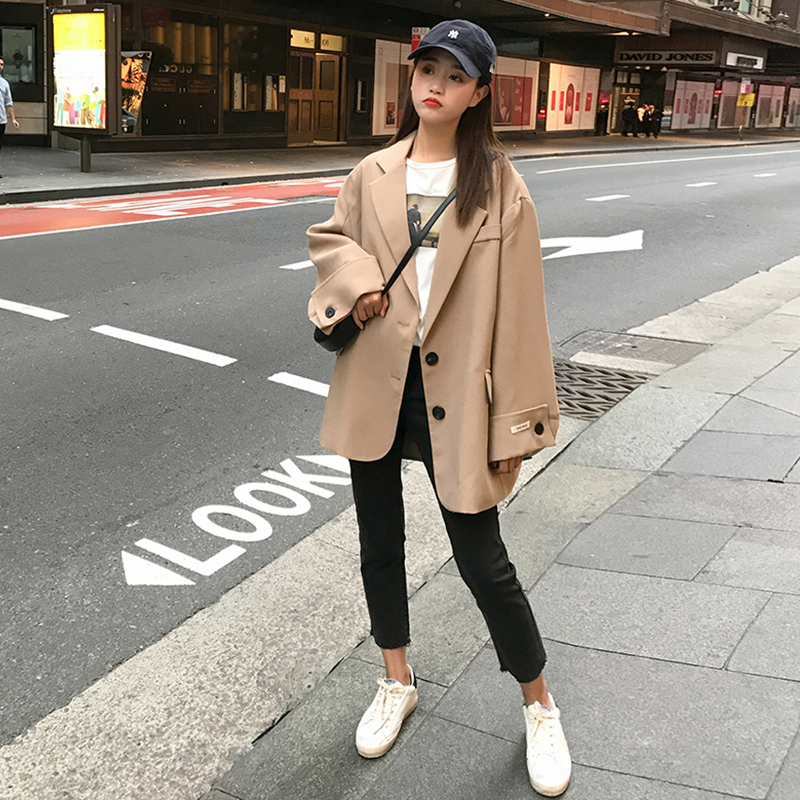 Loose Korean Ladies Blazer Stylish Solid White Casual Suit Jacket Simple Blazzer Mujer Retro Spring Autumn Women Blazer MM60NXZ