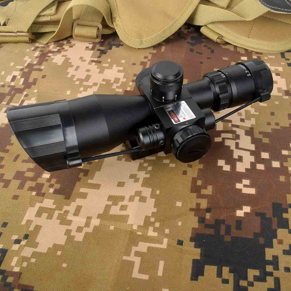 Tactical 2.5-10x40 Rifle Scope With Red Laser Combo Optical Sight With Illuminated Red Green Mil-dot Crosshair For Hunting Rifle