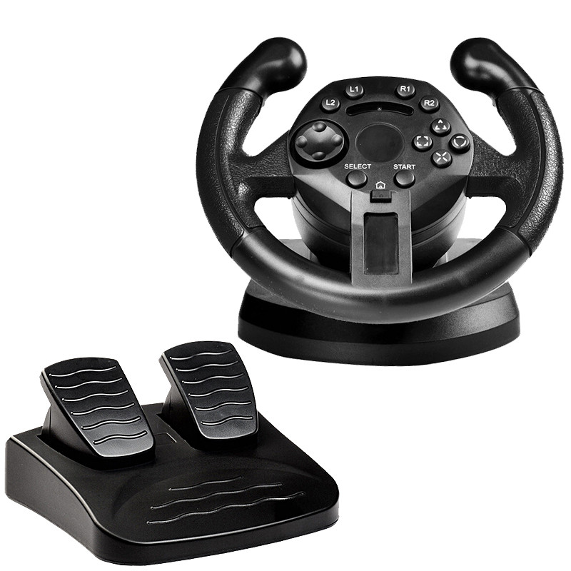 GTIPPOR Racing Steering Wheel For PS3 Game Steering Wheel PC Vibration Joysticks Remote Controller Wheels Drive For PC image