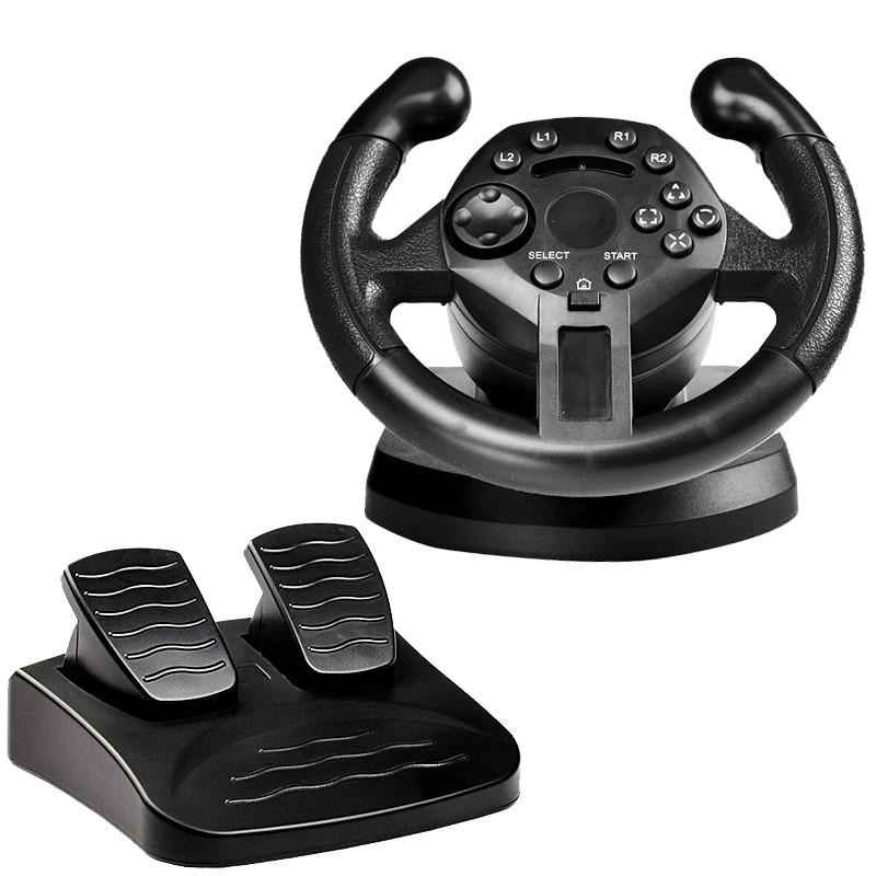Tüketici Elektroniği'ten Video Oyun Tekerlekleri'de GTIPPOR yarış direksiyon için PS3 oyun direksiyon PC titreşim joystick uzaktan kumanda tekerlekler sürücü PC için title=