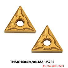 MITSUBISHI 10pcs TNMG 160404 160408 TNMG160404-MA TNMG160408-MA US735 Carbide Inserts for Stainless Steel Turning Tools CNC