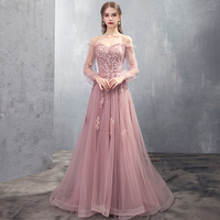 Long Prom Dresses Full Sleeve Lace Beads Sexy Slim Backless Formal Fashion Women Evening Gown Dress Robe De Soiree Vestidos