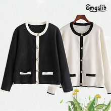 Womens cardigan loose South Korea fashion casual black and white coat simple comfort new 2019