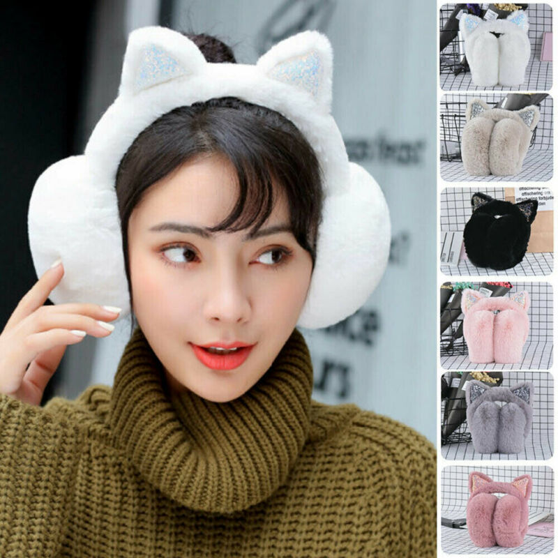 Women Girl Cat Earmuffs Warm Ear Protect Cute Faux Fur Soft Fluffy Earcap Winter Plush Ear Pad Headband Outdoor Warmer Fashion