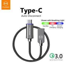 MCDODO rodzaj USB C szybkie ładowanie USB C kabel QC 3.0 dane telefon przewód ładowarki do Samsung S10 huawei P20 Pro xiaomi redmi przewód USB