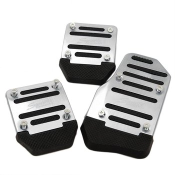 3pcs Car Vehicle Non-slip Alloy Pad Pedal Aluminium Foot Treadle Cover reduce foot fatigue safe for driving image