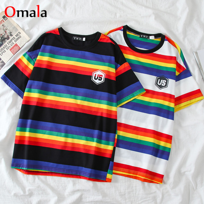 Harajuku Rainbow Loose Female T Shirt Korean Short Sleeve Striped O-neck Kpop Kawaii Women T-shirts Streetwear 90s Girl Tops Tee