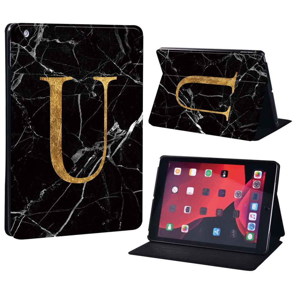 letter U on black Salmon Pink For Apple iPad 8 10 2 2020 8th 8 Generation A2428 A2429 Printing initia letters PU